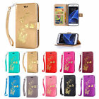 New Hot Stamping Golden Pattern Magnetic Stand Cover Case for Samsung Galaxy S7