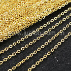 "14~30"" Cable Link Chain Necklace Gold Plated Copper Brass DIY Jewelry Findings"