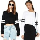 Fashion Women Casual Long Sleeve Shirt Strip Crop Blouse Tops Round Neck T-shirt