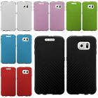 Slim Fused Hybrid Leather TPU Skin Case Cover For Samsung Galaxy S6 Edge