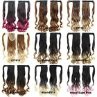 "22"" Dip Dye Ombre Thick Wavy Curly Hair Ponytail Wrap Around On Hair Extensions"