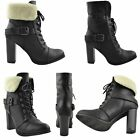Womens Block Heel Fold Over Fleece Cuff Lace Up Ankle Booties Black Sz 5.5-10