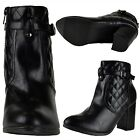 Womens Quilted Block Heel Ankle Booties w/ Ankle Strap Black Size 5.5-10