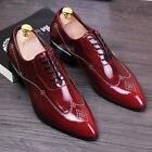 Fasjion Mens Business patent leather rivet oxford Brogue dress formal shoes Size