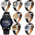 Classic Men's Black Leather Skeleton Dial Mechanical Sport Army Wrist Watch