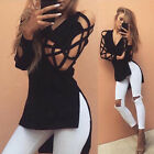 Women Sexy Blouse Deep V Cross Strap Long-sleeved Hollow Split T-shirt Tops MI