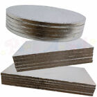 BULK 5 PACK of Cake Boards Round or Square Silver Drum Board 12mm Thick Strong