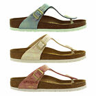 Birkenstock Gizeh Birko Flor Regular Fit Shiny Snake Womens Sandals Size UK 4-8