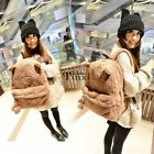 Womens Girls Plush Bear Ear Satchel School Rucksack Shoulder Bag Backpack Lot