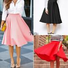 Vintage Women Stretch High Waist Skater Flared Pleated Swing Long Skirt Dress TX