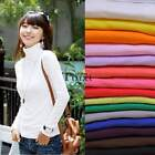 Women Milk silk Turtleneck T-shirt Tops Long Sleeve Slim Blouse Pullover TXCL