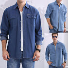Men's Casual Denim Shirt Cotton Tops Long-Sleeved Solid Color Blue Jean Shirt