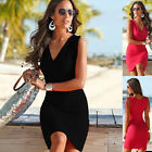 Womens Summer Sexy V Neck Drawstring Shoulder Bodycon Casual Mini Dress New UK
