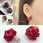 Rose Flower Cluster Crystal Double Sided Earrings Gold Stylish Ear Studs K0E1