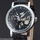 1 Pc New Men Hollow Leather Band Lovers Automatic Mechanical Watch Wristwatch