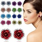 Rose Flower Crystal Rhinestone Ear Stud Pierced Earrings Woman Fashion Jewelry