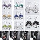Pair Crystal Quartz Stone Silvery Alloy Wire Wrap Tree of Life Hook Stud Earring