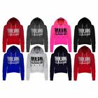 Womens Ladies Good Girl Bad Habits Printed Fleece Crop Hoodie Hooded Sweatshirts
