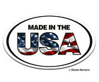 Made In The USA Oval Decal American Flag United States Gloss Vinyl Sticker HGV