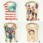 Loose Printing Bat Blouse New Women Short Sleeve T-shirt Tops Fashion Printed MI