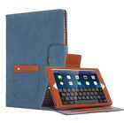 Luxury Cowboy Canvas Leather Smart Cover Case Stand for iPad 2 3 4 Air Mini Pro