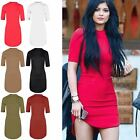 Womens Polo Turtle High Neck Bodycon Curved Hem 3/4 Short Sleeve Party Dresses