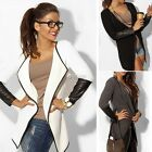 2016 Women Jacket Blazer Long Sleeve Knitwear Leather Cardigan Coat Outwear DG