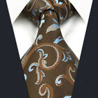 A29 Mens Tie Extra Long Size Brown Silk Floral Pattern Jacquard Woven Classic