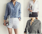 Women's Ladies Loose Cotton Blouse Long Sleeve Casual Shirts Tops Fashion Blouse