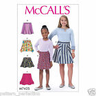 McCall's 7425 Sewing Pattern to MAKE Easy Girls' Below Waist Skirts
