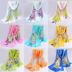 New Fashion Women's Peacock Print Chiffon Long Soft Thin Beach Stole Wrap Scarf
