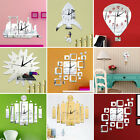 Creative DIY Mirror Quartz Wall Clock Modern Home Decor Watch Large Wall Sticker