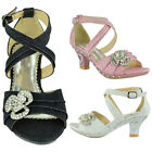 Girls High Heel Pageant Dress Sandals w/ Ankle Strap Rhinestone Pink Size 10-5