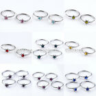 "50x Steel Crystal CZ Star 5/16"" Fake Lip Nose Helix Cartilage Septum Hoop Rings"