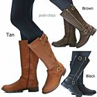New Women FEva Black Tan Brown Biker Riding Knee High Boots 5.5 to 10