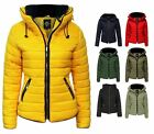 Womens Quilted Padded Hooded Gold Zip Bubble Fur Collar Warm Thick Jacket Coat