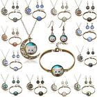 Vintage Moon Back Glass Cabochon Pendant Necklace Bracelet Earrings Jewelry Set