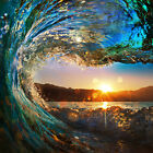 Contemporary Canvas Prints Painting Wall Art Surf Sunset Glow Wave Ocean Framed