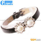 8-9mm Freshwater Pearl Gold Plated Flower Shape Black Leather Bracelet XMAS Gift