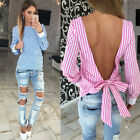 New Long Sleeve Back Bow V-neck Striped T-Shirt Ladies Casual Tops Blouses