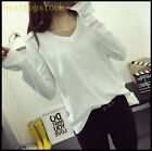 Hot Sale Womens Girls V Neck Autumn Loose Fit Long Sleeves College Casual Shirts