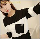 Hot Sale Womens Girls Cute Sweet Cotton Blend Color Stitching Autumn Tops Shirts