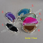 1Pcs Rainbow Onyx Agate Druzy Slice Connector With Silver Plated Edge HOT HS0161