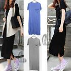 AU SELLER Casual Soft Cotton Jersey Side Split Beach Cover Up Dress dr088