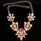 Vintage Style Statement Bib Chain Choker Crystal Large Flower Pendant Necklace