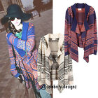 kn73 Vintage Retro Women's Aztec Print Oversized Knit Cardigan Poncho Casual