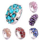 Oval Stone Cut Amethyst Garnet & Pink & Green & Blue Topaz Silver Fashion Ring