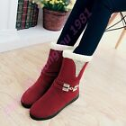 New Womens Fur Fringed Winter Warm Mid Calf Boots Metal Decor Round Toe Pull On