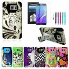 For Samsung Galaxy Note 5 New Dual Layer Stand Hybrid Rubber Case Cover+Film+Pen