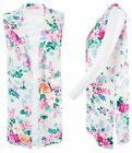 Women Ladies Open Floral Print Sleeveles Blazer Long Coat Duster Jacket Side Cut